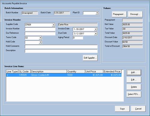 Invoices - Invoice header