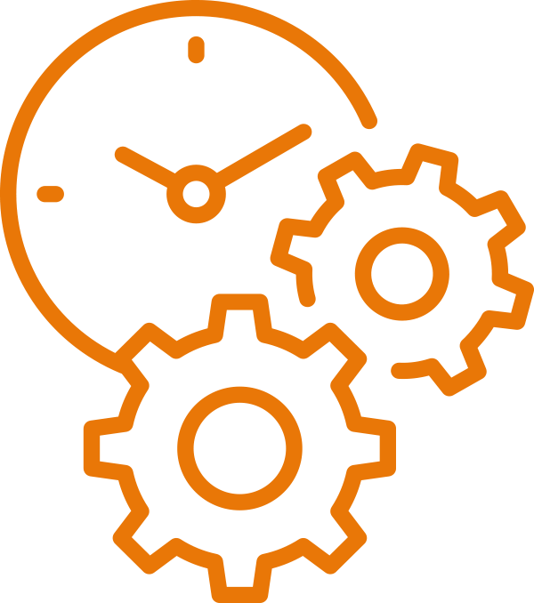 Gears with clock icon